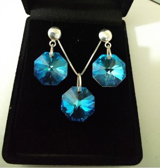 Conjunto Cristal Swarovski Castanha Blue Boreal Em Prata 925