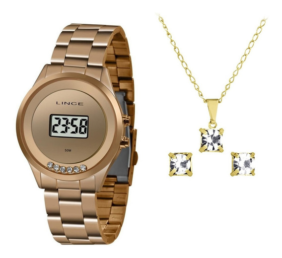 Kit Relógio Lince Digital Feminino Sdr4610l Bxrx Rose + Nf