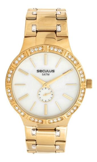 Relógio Seculus Feminino Dourado 23579lpsvds1