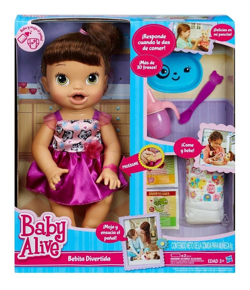 Boneca Baby Alive Hora De Comer Morena Com Acessórios Hasbro