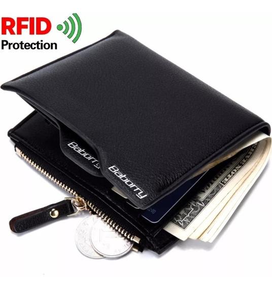 Carteira Porta Cartões Rfid Couro Antifurto Automática
