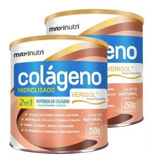 2 Colágeno Verisol 2em1 250g Maxinutri # Rugas Nunca Mais