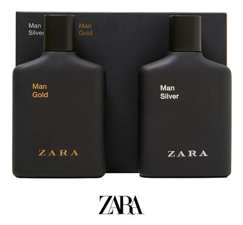 Imagen 1 de 6 de 2 Perfumes Importados Zara Man Silver & Gold Edt - 100ml