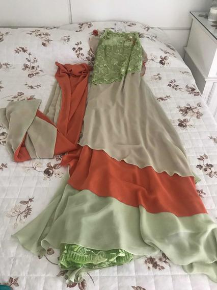 Vestido De Festa Bicolor Tamanho 40 Usado 1 Vez