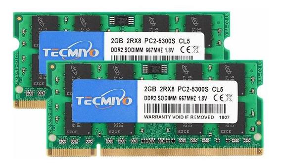 Memoria Ram 4gb Tecmiyo Kit (2x2gb) Ddr2 667mhz Pc2-5300 Pc2-5300s Non Ecc Unbuffered 1.8v Cl5 2rx8 Dual Rank 200