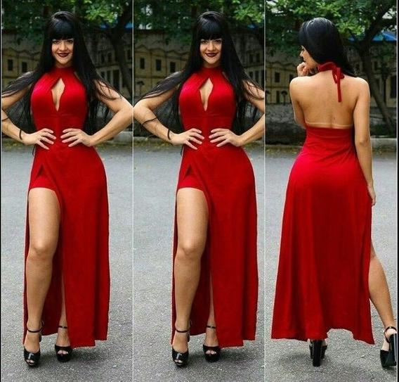 Vestido De Fiesta Largo En Seda Fria Modelo Elegante Art99
