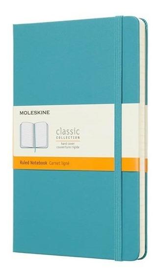 Caderno Clássico, Azul, Capa Dura, Pautado, Grande (13x21cm)