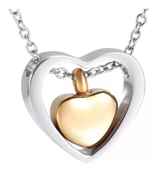 Collar Relicario Corazón Dorado Urna Cenizas Acero 36