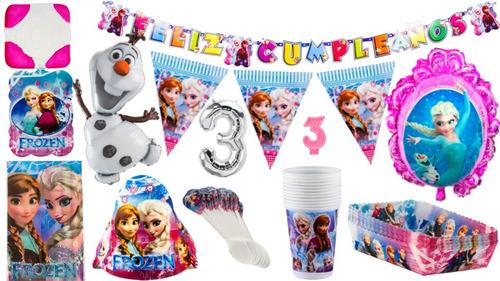 Kit Decoración Fiesta Infantil Frozen 12 Personas Con Globos