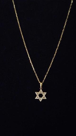 Corrente Cartier 68 Cm Com Estrela De Davi Ouro 18k 750