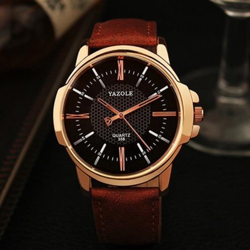 Relógio Masculino Luxo Yazole Couro Sintético 358