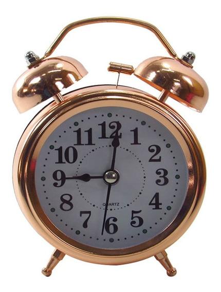 Relógio Despertador De Metal Gold Rose Com Iluminação 13x10