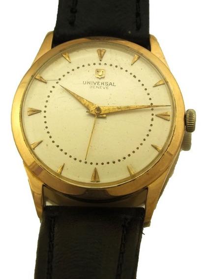 Relógio De Pulso Masculino Universal Geneve Ouro Rose 18k Maquina Mecanica Com Pulseira Em Couro Frete Grátis J20013