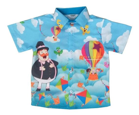 Camisa Masculina Social De Festa Mundo Bita Meninos Infantil