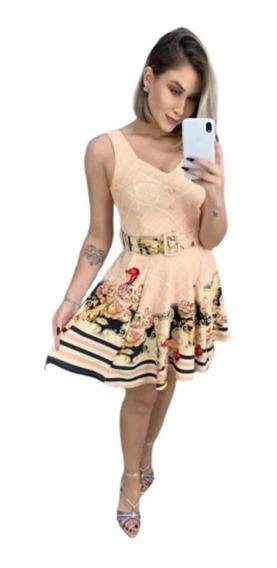 Vestido Boneca Godê Decote Detalhe Botões Bojo Cinto Laço