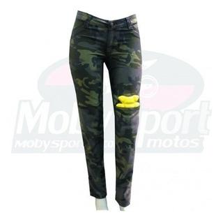 Calça Motociclista Proteção Hlx Camuflada Slim Feminina Moto