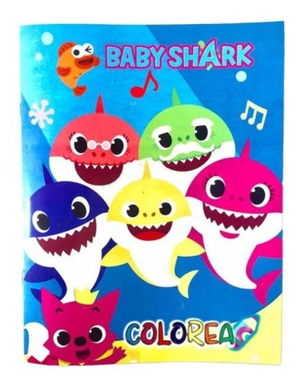 Libro De Colorear Baby Shark T.carta 16 Pág Fiesta Recuerdo