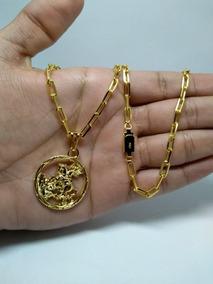 Cordão Cartier Grossa Banhado A Ouro 18k +pingente São Jorge