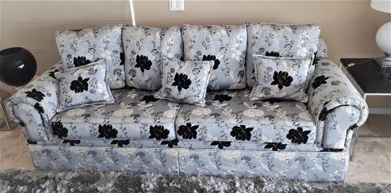 Sofa Alto Padrão Da Sierra Moveis Tecido Seda Egipcio 3 Lug