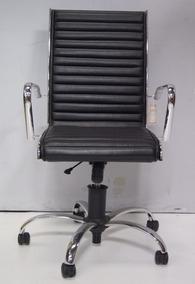 Cadeira Giratória Para Computador Em Couro Preto
