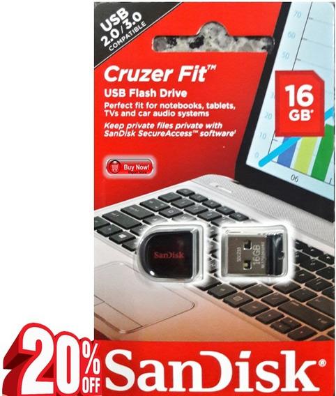 Lote Com 2 Pen Drives 16gb Cruzer Fit Nano Mini Usb 2.0 3.0