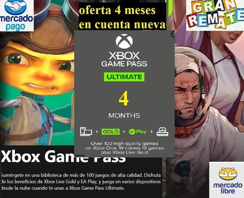 Imagen 1 de 1 de Xbox Game Pass Ultimate 4 Meses *cu3nta Nueva*  ¡¡oferta!!