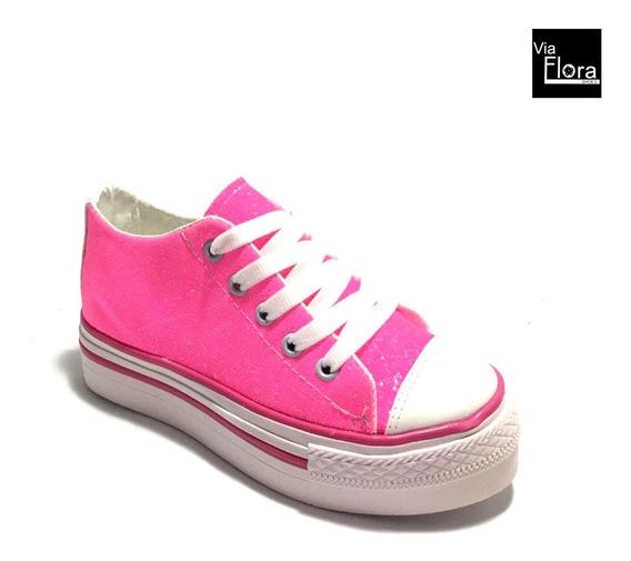 Zapatillas De Niñas Con Glitter Urbanas Acordonadas (11/4001