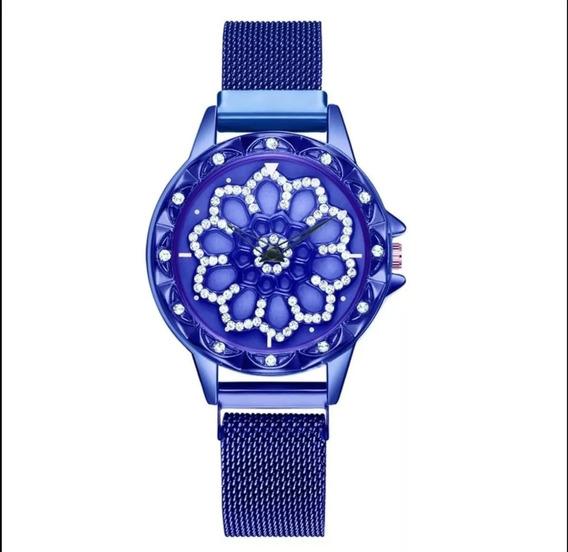Reloj Dama Moda Giratorio Magnético Correa Iman