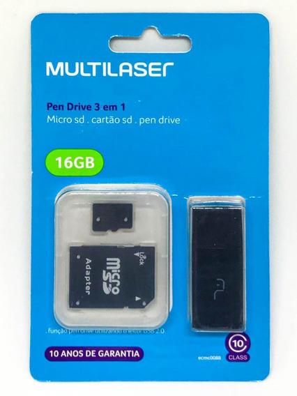 Cartão De Memória 16gb 3x1 Class10 Multilaser Mc112
