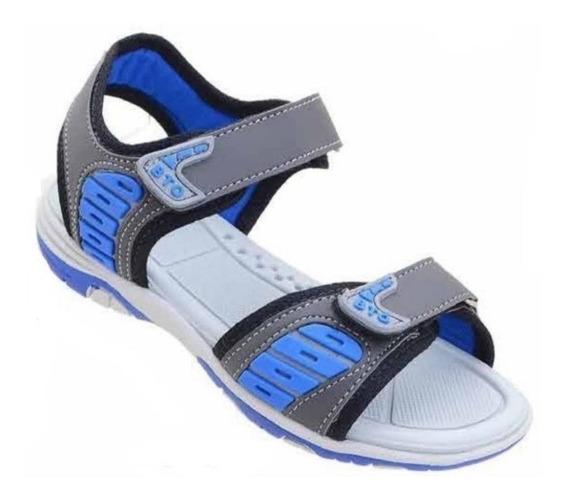 Sandália Infantil Masculino Papete Azul Cinza Velcro Confort
