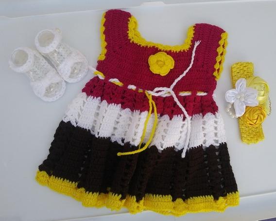 Tejido A Mano Vestido Para Bebe, Outfit Mexicano, Fiestas