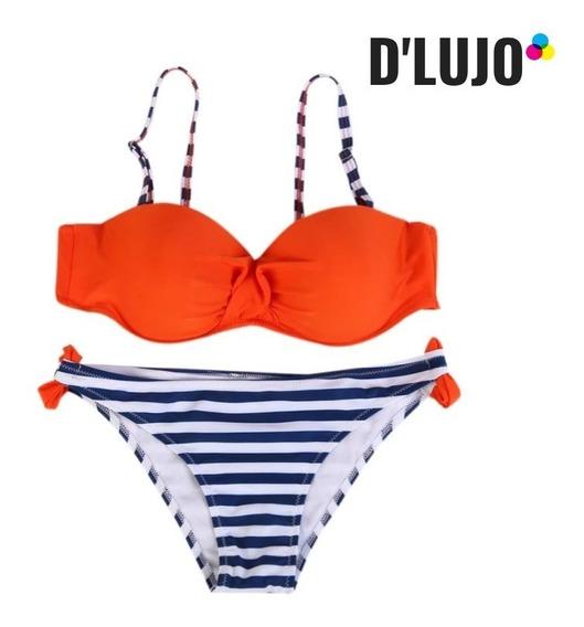 Vestido De Baño Mujer Bikini Naranja Copa Salida De Baño