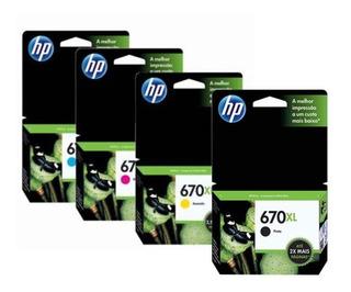 Combo Hp 670xl Negro + 3 Color Original Officejet 3525 4625