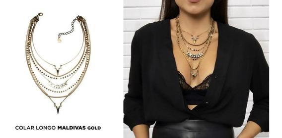 Colar Feminino Mariana Dias Maldivas Gold Unico Original