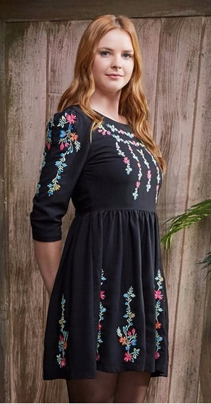 Vestido Antix Mini Flores Bordados - Novo, Com Tag ! P/m/g