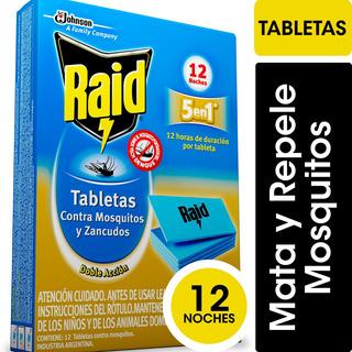 Raid Tabletas Mosquitos Doble Accion X12 Unidades - 4 Cajas