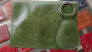 Chaveiro + Porta Documento Couro Legitimo Camaro Novo Verde