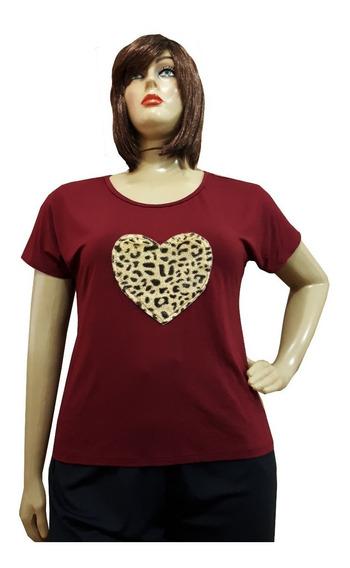 Blusa Camiseta Feminina Plus Size +cores Viscolycra G Ao G3