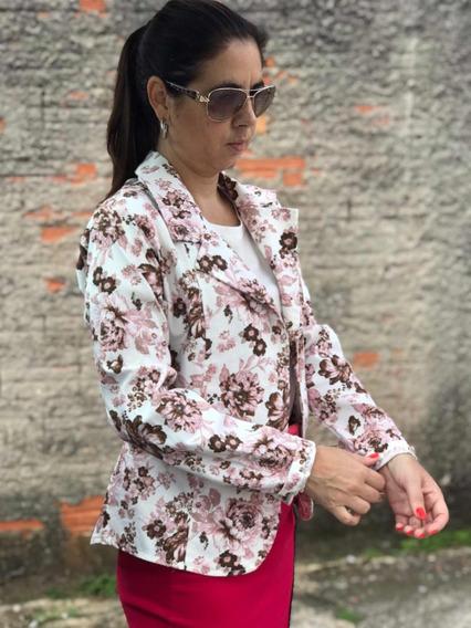 Casaco Blazer Floral Feminino Moda Evangelica Verao 2019