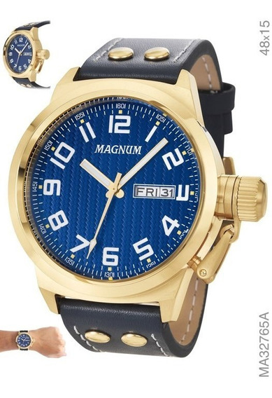 Relógio Masculino Em Couro Magnum Ma32765a Caledário