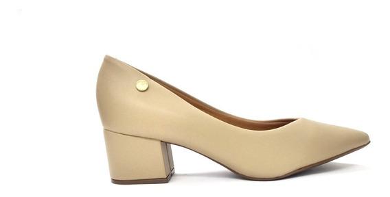 Sapato Feminino Salto Baixo Vizzano Pelica Bege 1220