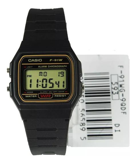Relógio Masculino Digital Borracha Casio F91wg-9qdf Retrô