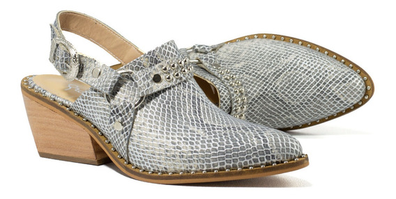 Zapatos Mujer Zuecos Gravagna Charritos Texanas Cuero Vacuno Reptil