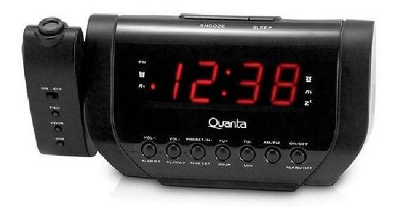 Rádio Relógio Quanta Projetor Digital Fm Am Alarme Bivolt
