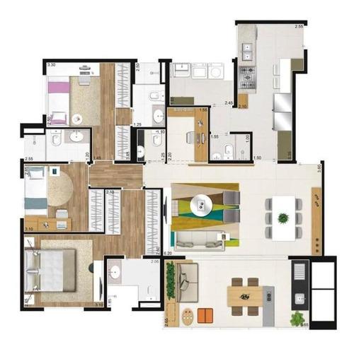 Apartamento Com 3 Dormitórios À Venda, 118 M² Por R$ 1.265.000,00 - Vila Ipojuca - São Paulo/sp - 9849