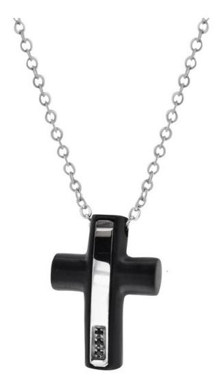 Collar K-penko Cruz Negra Con Plateado Joyería Acero.
