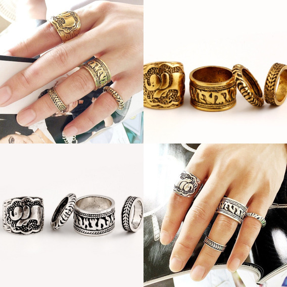 Lote 8 Anéis Dourados + Prateados (frete.grátis)