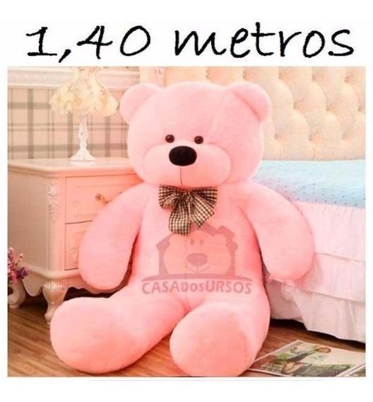 Urso Rosa Grande De Pelucia 1,40 Mts 140cm Com Gravata Rosa