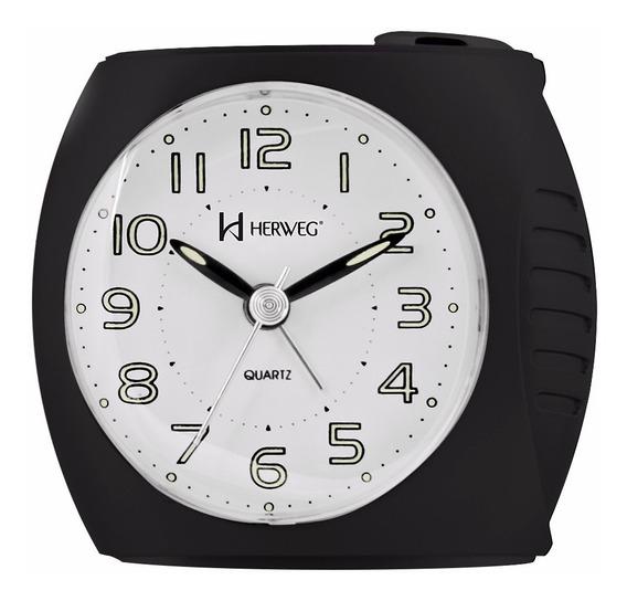 Relógio Despertador Silencioso Preto Novo Luz Herweg 2586