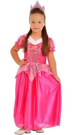 Fantasia Princesa Rosa Infantil Sulamericana Com Tiara